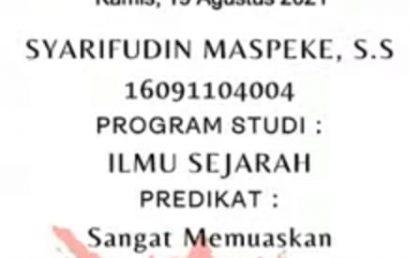 Selamat untuk Syarifudin Maspekeh, S.S. wisudawan dari program studi Ilmu Sejarah Unsrat
