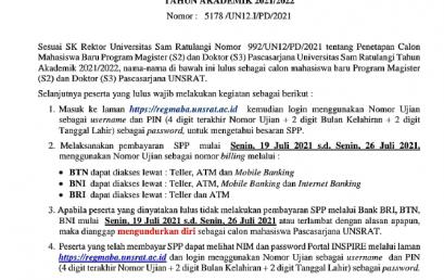 Pembayaran SPP Mahasiswa Baru 2021 & Nomor Induk Mahasiswa